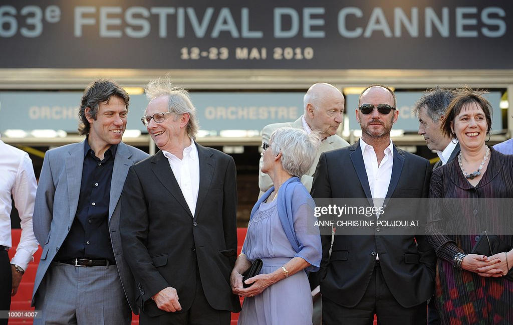 actor John Bishop, British director Ken Loach and his wife Lesley Ashton, British actor Mark Womack and producer Rebecca O'Brien arrive for the screening of 'Route Irish' presented in competition at the 63rd Cannes Film Festival on May 20, 2010 in Cannes.