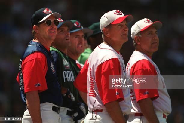 From left actor Kevin Costner quarterback Doug Flutie former Red Sox center fielder Fred Lynn actor Mark Harmon and former Red Sox infielder Rico...