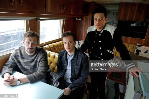 From left actors Gwilym Lee Joseph Mazzello and Rami Malek who star in the Queen biopic Bohemian Rhapsody pose for a portrait in Boston on Oct 2 2018