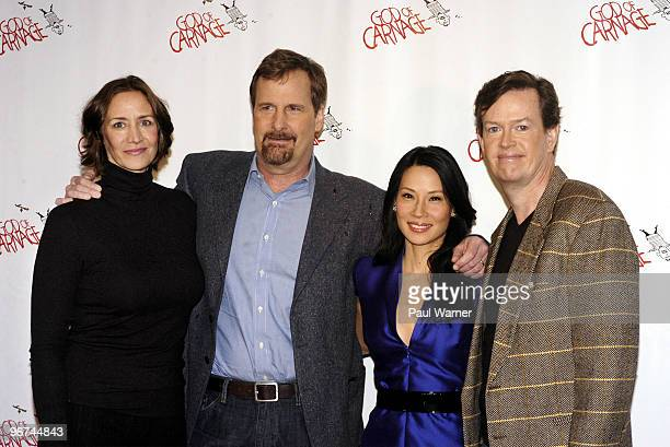From left actors Janet McTeer Jeff Daniels Lucy Liu and Dylan Baker attend a photo call as the new cast of God Of Carnage at Sardi's on February 16...