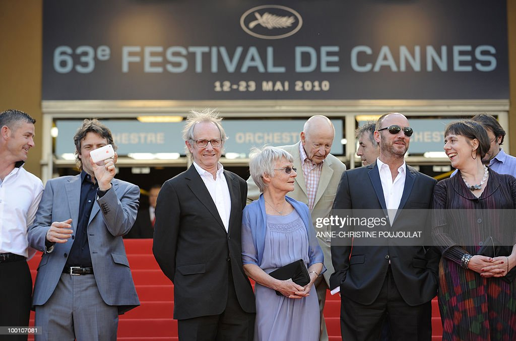 actors Trevor Williams, John Bishop, British director Ken Loach and his wife Lesley Ashton, British actor Mark Womack and producer Rebecca O'Brien arrive for the screening of 'Route Irish' presented in competition at the 63rd Cannes Film Festival on May 20, 2010 in Cannes.