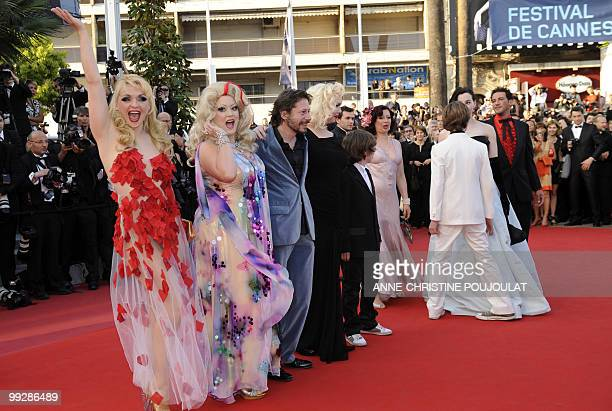 actress Julie Atlas Muz actress Dirty Martini and French director and actor Mathieu Amalric for the screening of the film Tournee presented in...