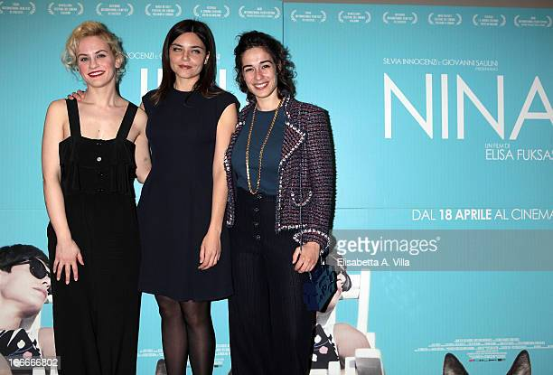 From left actress Marina Rocco director Elisa Fuksas and actress Diane Fleri attend 'Nina' premiere at Cinema Barberini on April 15 2013 in Rome Italy
