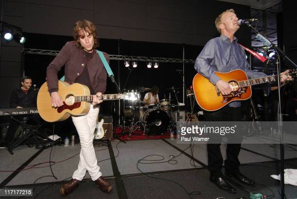 From left Adam Schlesinger Jody Porter Brian Young and Chris Collingwood of the band Fountains of Wayne perform during MOBfest2011 at the Hard Rock...