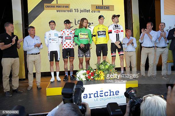 From left Adam Yates of Great Britain riding for OricaBikeExchange Thomas De Gendt of Belgium riding for Lotto Soudal Peter Sagan of Slovakia riding...