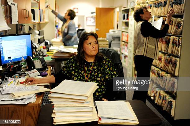 From left Admission clerks Linda Warner Venessa Cueva and Joan Vest are refiling and degitalizing the medical records of patients at Spanish Peaks...