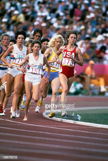 South African athlete Zola Budd during the Women's 3000 Metres final at the Olympic Games in Los Angeles 10th August 1984 Number 175 is Wendy Sly of...