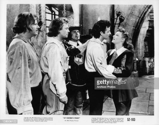 From left, Alan Hale Jr, Dan O'Herlihy, unknown, Cornel Wilde, and Maureen O'Hara in a scene from the film 'At Sword's Point', aka 'Sons of the...