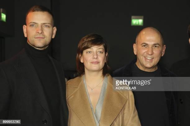 From left Alessandro Borghi Anna Bonaiuto and Ferzan Ozpetek at the premier of 'Napoli Velata' directed by Ferzan Ozpetek main actors Giovanna...