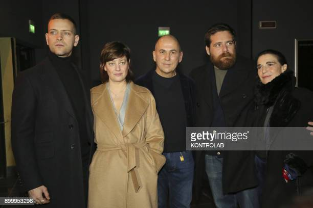 From left Alessandro Borghi Anna Bonaiuto Ferzan Ozpetek Biagio Forestier and Lina Sastri at the premier of 'Napoli Velata' directed by Ferzan...