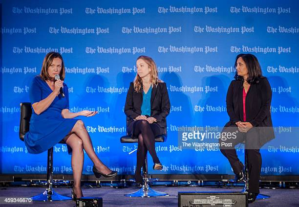 From left Alison Snyder Washington Post Live Senior Editorial Producer speaks with Nikki Tyler an independent Consultant and Sonal Shah Executive...