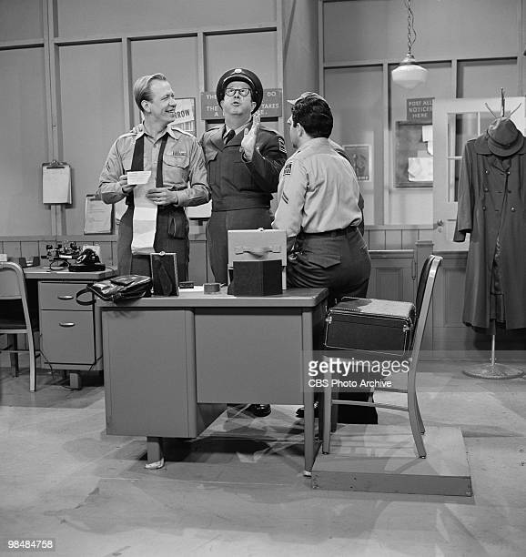 From left Allan Melvin as Cpl Steve Henshaw Phil Silvers as MSgt Ernest G 'Ernie' Bilko and Harvey Lembeck as Cpl Rocco Barbella on 'The Phil Silvers...