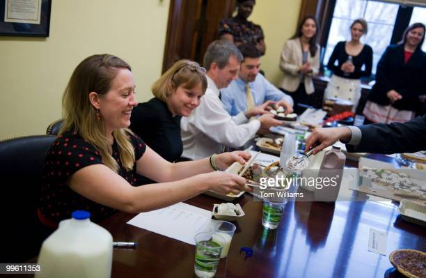 From left, Amber Johnson, from the office of Sen. Mike Enzi, R-Wyo., Alice James, from the office of Lindsey Graham, R-S.C., John Vezina from the...