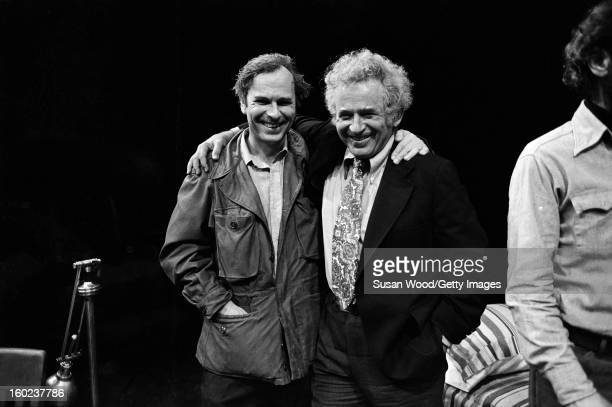 From left American actor Rip Torn author Norman Mailer and playwright and theatre director Jack Gelber on the set of Gelber's production of the play...