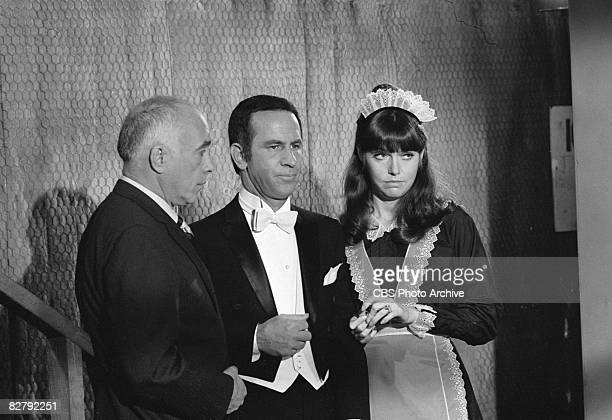 From left, American actors Edward Platt , Don Adams, and Barbara Feldon, appear in a scene from an episode of the the situation comedy 'Get Smart'...