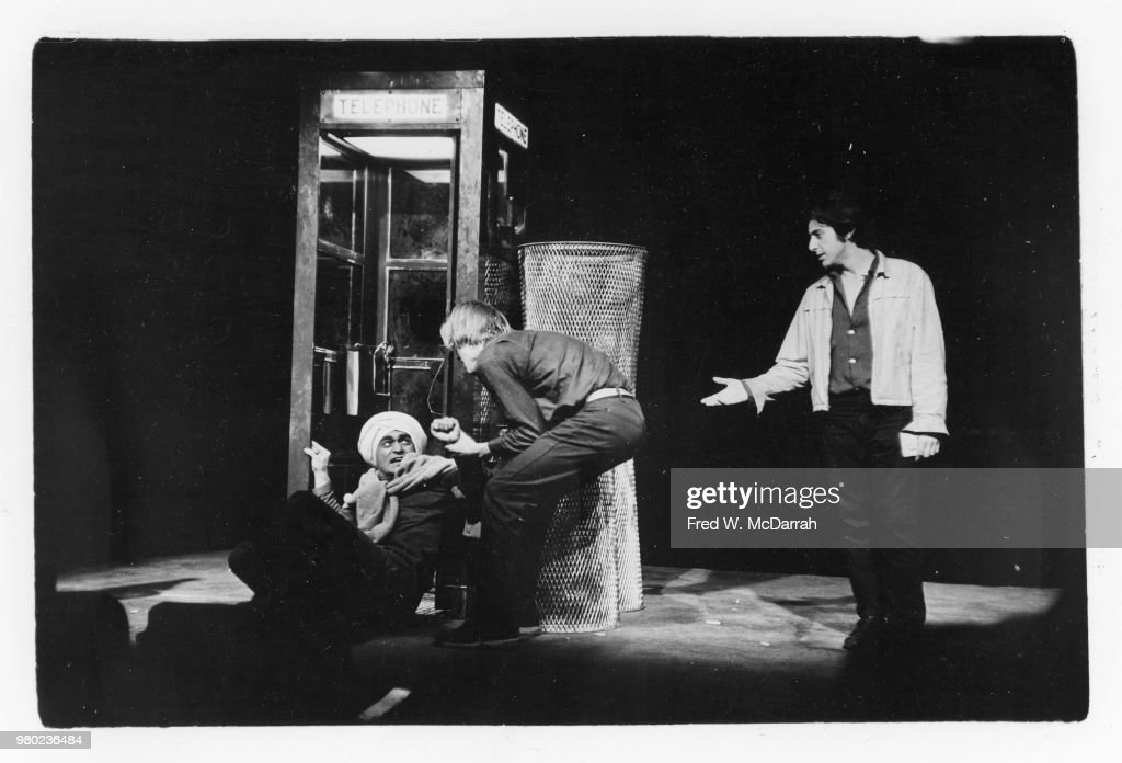 From left, American actors John Cazale (1935 - 1978), Matthew Cowles (1944 - 2014), and Al Pacino appear in the play 'The Indian Wants the Bronx' (written by Israel Horovitz and directed by James Hammerstein), at the Astor Place Theater (434 Lafayette Street), New York, New York, February 27, 1968. The production received three Obie Awards, Best New Play, Best Actor (for Pacino), and Best Supporting Actor (for Cazale).