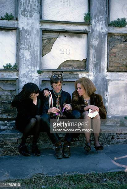 From left American actors Toni Basil Peter Fonda and Karen Black at the St Louis Cemetery during the filming of 'Easy Rider' New Orleans Louisiana...