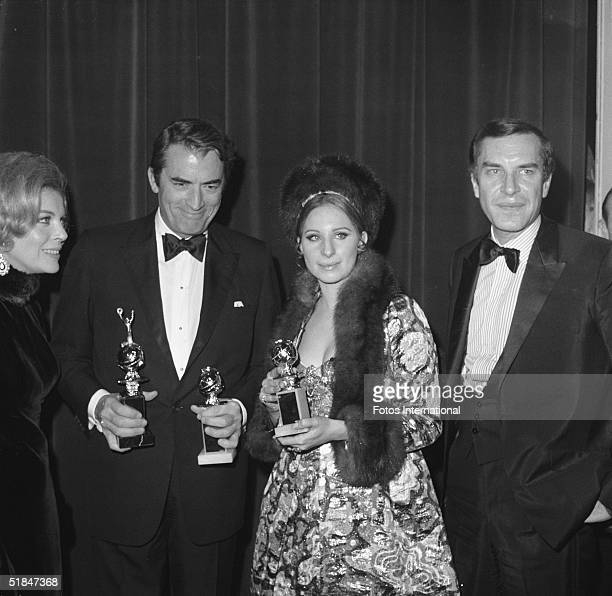 American actress Barbara Bain, American actor Gregory Peck , American actress and singer Barbra Streisand, and Bain's husband, American actor Martin...