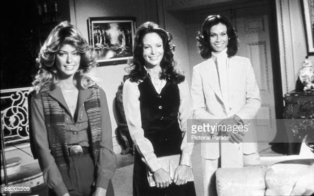 From left American actresses Farrah Fawcett Jaclyn Smith and Kate Jackson in a scene from an episode of the television program 'Charlie's Angels' mid...
