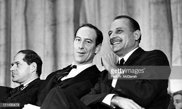From left American architect Arthur Rosenblatt outgoing NYC Parks Commissioner and future director of the Metropolitan Museum of Art Thomas Hoving...