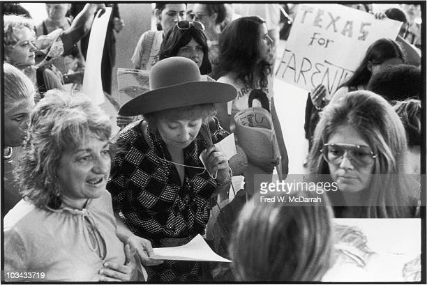From left American author and women's rights activist Betty Friedan US Representative Bella Abzug and feminist leader and author Gloria Steinem...