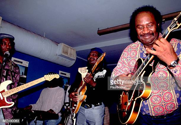 From left American Blues musicians Buddy Guy Albert Collins and Fenton Robinson perform together on stage at Buddy Guy's Legends nightclub Chicago...