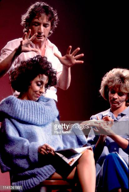 From left American comedian and actress Andrea Martin Canadian comedians and actors Martin Short and Debra McGrath perform onstage during the Second...