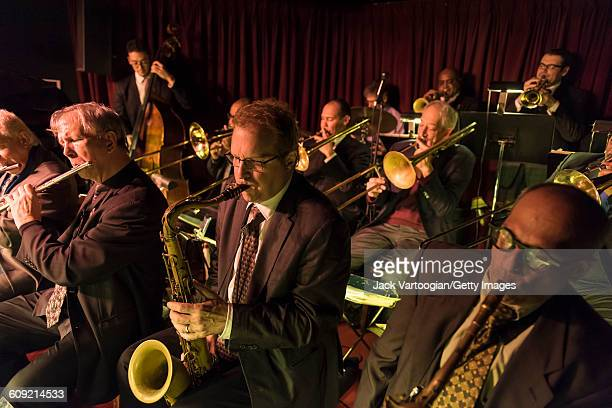 From left American Jazz musicians Dick Oatts on flute Rich Perry on tenor saxophone and Gary Smulyan on baritone saxophone perform with the Vanguard...