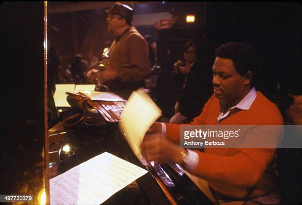 From left American jazz musicians McCoy Tyner and Jackie McLean perform during rehersals for the 'One Night With Blue Note' concert New York New York...