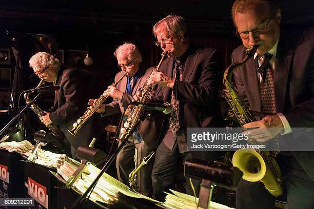 From left American Jazz musicians Ralph Lalalama on tenor saxophone Billy Drewes on soprano saxophone Dick Oatts on soprano saxophone and Rich Perry...
