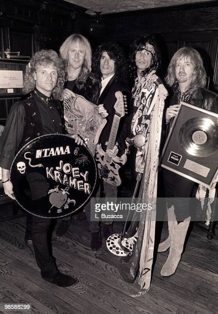 From left American musicians Joey Kramer Tom Hamilton Joe Perry Steven Tyler and Brad Whitford of the group Aerosmith New York New York circa 1990