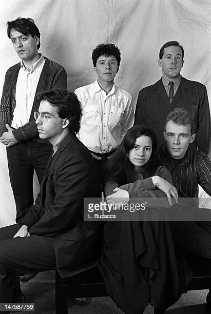 From left American musicians John Lombardo Steve Gustafson Dennis Drew Natalie Merchant Robert Buck and Tim Edborg of the group 10000 Maniacs pose...