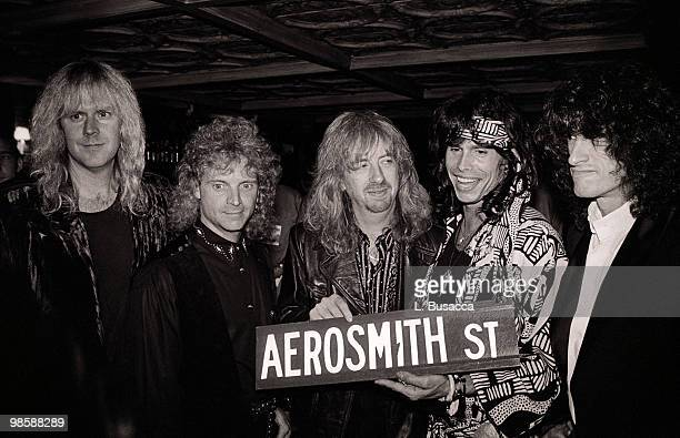 From left American musicians Tom Hamilton Joey Kramer Brad Whitford Steven Tyler and Joe Perry of the group Aerosmith New York New York circa 1990