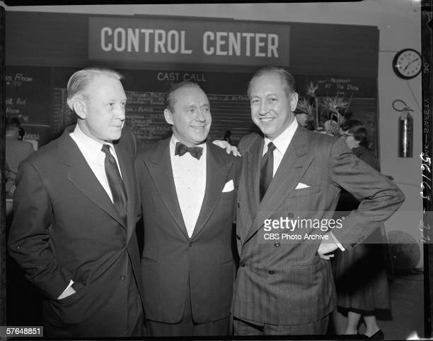 From left American network executive and President of CBS Dr Frank Stanton comedian and actor Jack Benny and broadcast network executive President of...