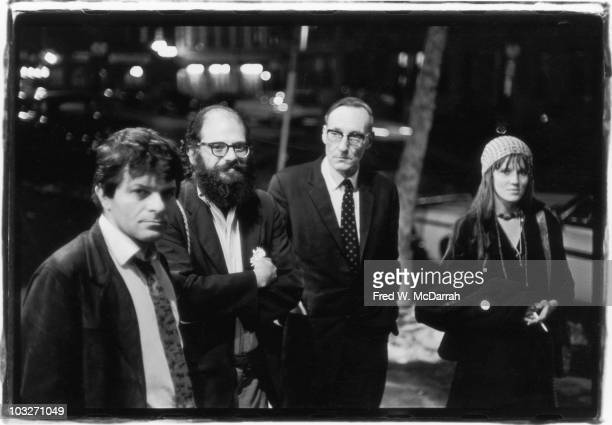 From left American poets Gregory Corso and Allen Ginsberg author William S Burroughs and artist Maretta Greer pose together near the intersection of...