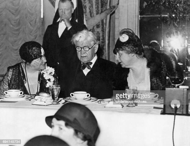 From left American politicians Representative Mary Teresa Norton Representative Henry Thomas Rainey and former US First Lady Ellen Axson Wilson at...