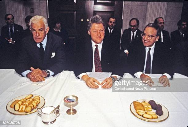 From left American politicians Speaker of the US House of Representatives Tom Foley US President Bill Clinton and US Senate Majority Leader George J...