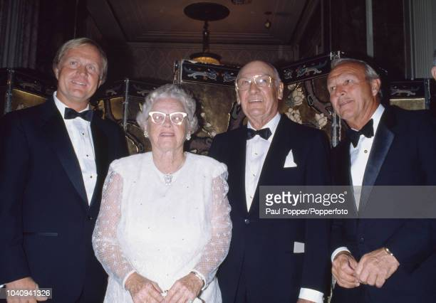From left American professional golfers Jack Nicklaus Patty Berg Ben Hogan and Arnold Palmer pictured together as they attend The Golfer of the...