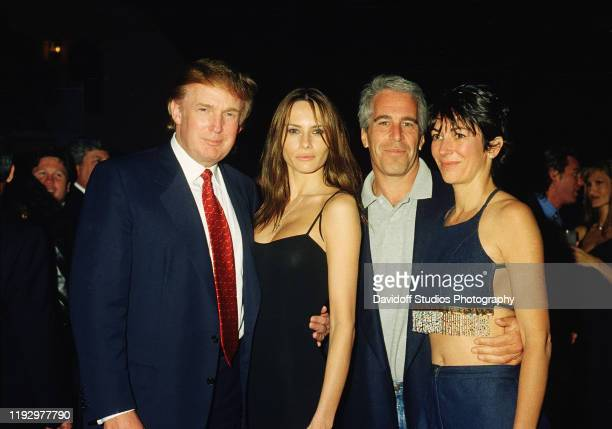 From left American real estate developer Donald Trump and his girlfriend former model Melania Knauss financier Jeffrey Epstein and British socialite...