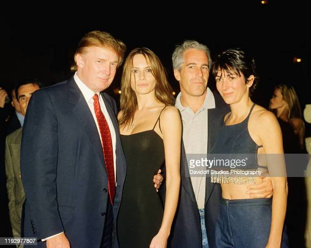 From left, American real estate developer Donald Trump and his girlfriend , former model Melania Knauss, financier Jeffrey Epstein, and British...