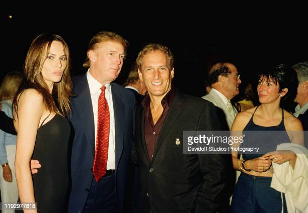 From left American real estate developer Donald Trump and his girlfriend former model Melania Knauss musician Michael Bolton and British socialite...