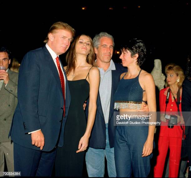 From left American real estate developer Donald Trump and his girlfriend former model Melania Knauss financier Jeffrey Epstein and British socialite...