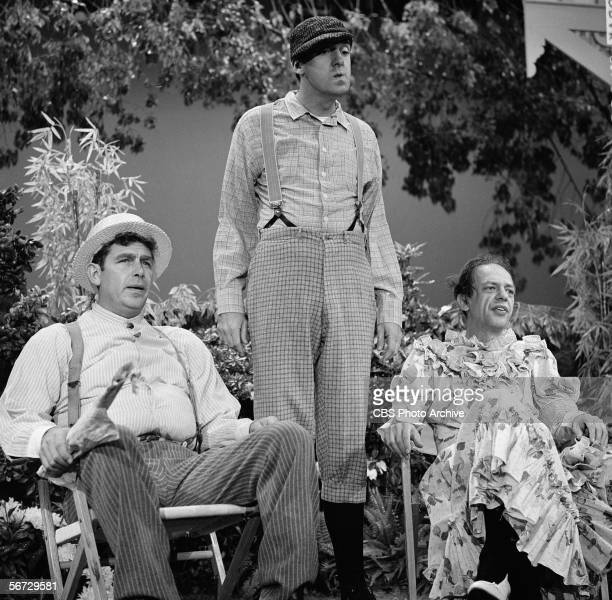 From left American television actors Andy Griffith Jim Nabors and Don Knotts appear together in a televised skit September 12 1965