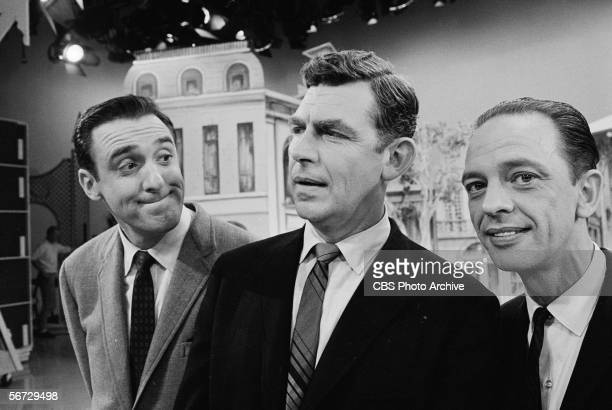From left, American television actors Jim Nabors, Andy Griffith, and Don Knotts appear together on the set of a television show, September 12, 1965.