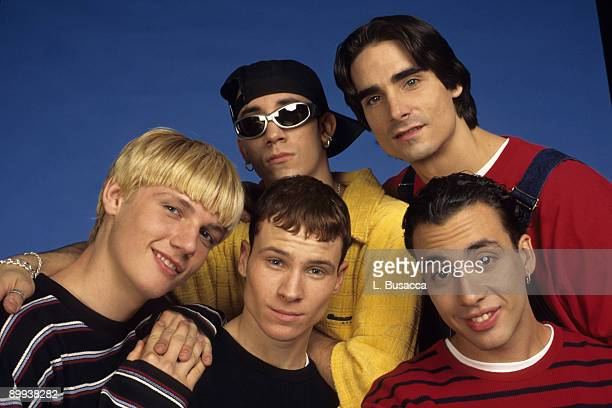 From left American vocalists Nick Carter Brian Littrell AJ McLean Kevin Richardson and Howie Dorough of the group the Backstreet Boys attend a photo...