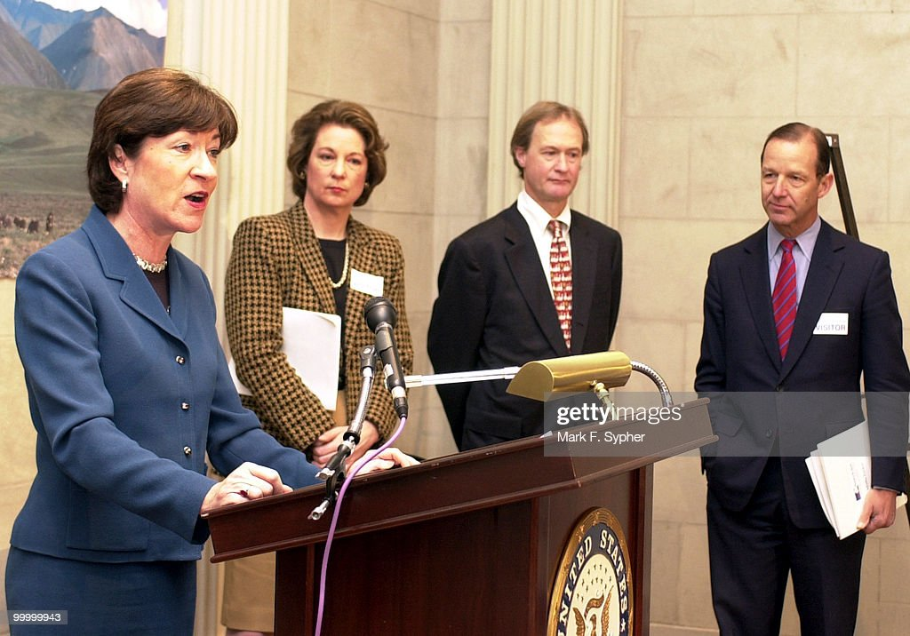 From left, Americans for Alaska, including Senator Susan M. Collins (R-ME), joined by Susan Eisenhower, Theodore Roosevelt IV, and Lincoln Chafee (R-RI), all pleged to to help preserve and protect Alaska's wildness heritage, and reject drilling.