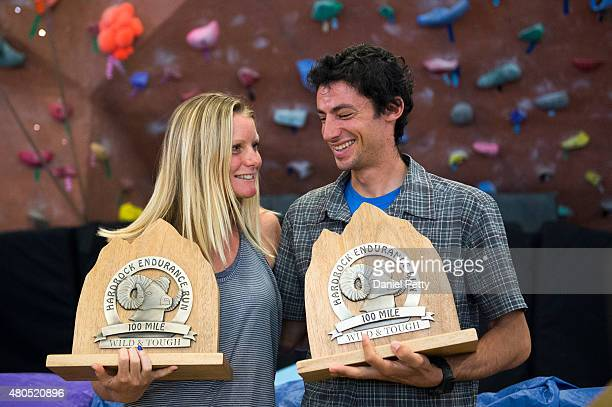 From left Anna Frost and Kilian Jornet smile after receiving their awards in the Silverton High School gymnasium for winning the Hardrock 100...