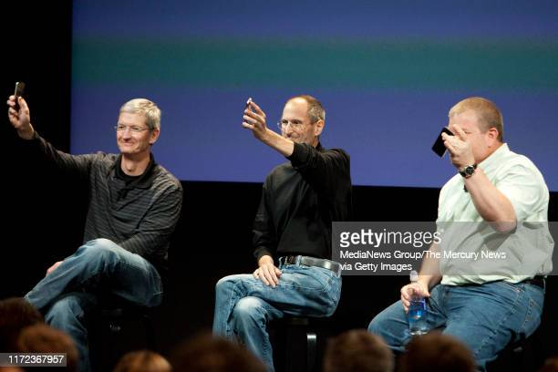 From left, Apple executives Tim Cook, chief operating officer; Steve Jobs, CEO; and Bob Mansfield, senior vice president of Mac Hardware Engineering...
