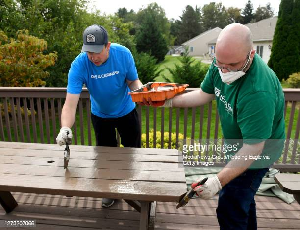 """From left are Herbein employees Chris Kunkle, senior manager, and John """"JP"""" Hazel, senior accountant. At Hannah's Hope Ministries in Reading Thursday..."""