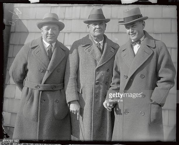 From left are Knute Rockne coach of Notre Dame University Glenn Pop Warner coach of Stanford University and Tad Jones coach of Yale University